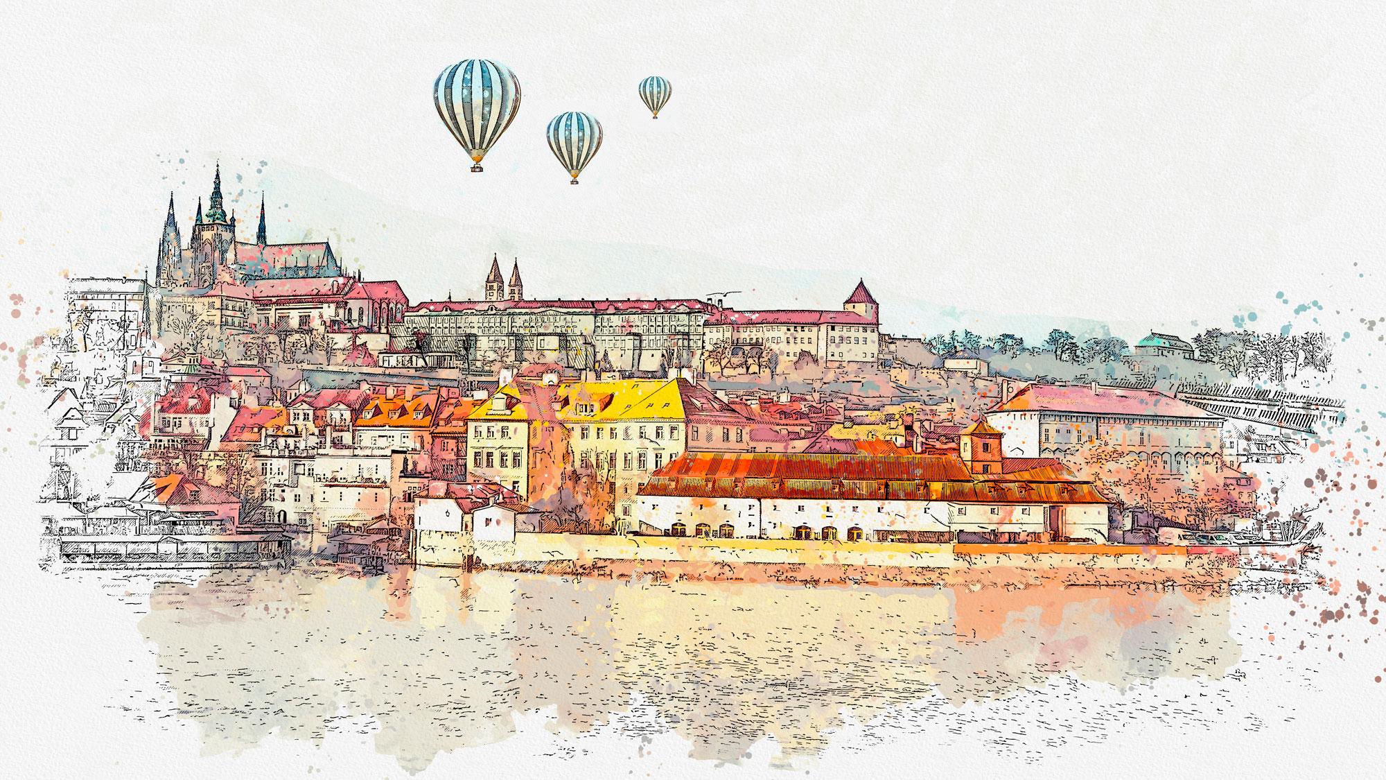 Viajar en globo en Praga